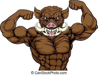 Boar Hog Mascot - Boar razorback warthog animal sports...