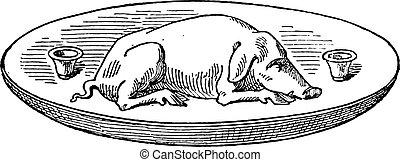 Boar in a dish, vintage engraving.