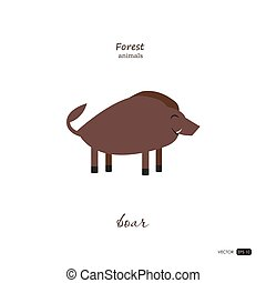 Boar in cartoon style on white background.