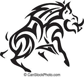 boar in tribal style - vector illustration - vector...