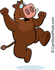 Boar Jumping - A happy cartoon boar jumping and smiling.