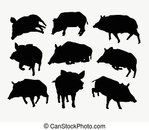 Boar mammal wild animal silhouette