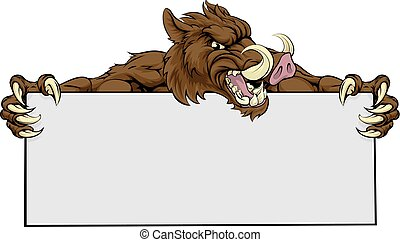 Boar Mascot Sign - A mean looking boar sports mascot holding...