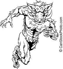 Boar mascot sprinting