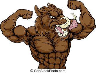 Boar Razorback Mascot - Boar razorback warthog animal mascot...