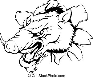 Boar ripping through background