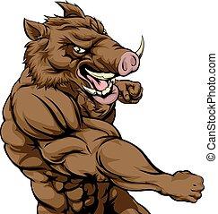 Boar sports mascot fighting - A mean looking boar sports...