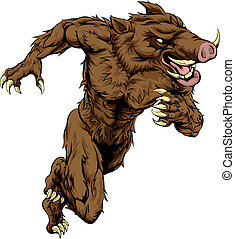 Boar sports mascot running - A boar man character or sports ...