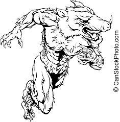 Boar sports mascot running - A boar man character or sports ...