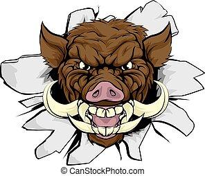 Boar Warthog Sports Mascot - A wild boar or razorback ...