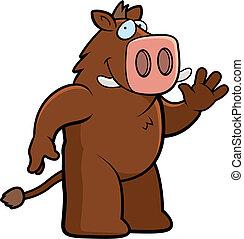 Boar Waving - A happy cartoon boar waving and smiling.