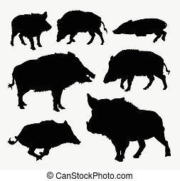 Boar wild animal silhouettes