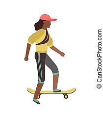 board., 屋外, 特徴, 極点, スケート, lifestyle., 乗馬, レジャー, イラスト, 若者, 平ら...