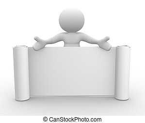 Board - 3d people - man, person with a blank board