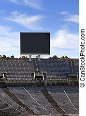 Board above empty tribunes on Barcelona Olympic Stadium