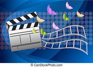 board., ardoise, vecteur, illustration., cinéma