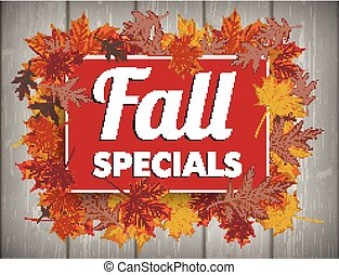 Board Autumn Foliage Fall Specials Wood - Board with foliage...