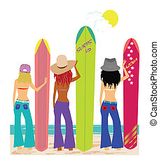 women holding surfboards on beach waiting for next wave