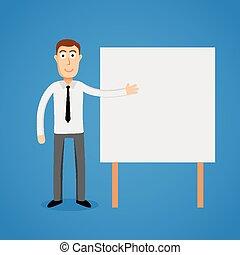 board., bianco, presentazione, uomo affari