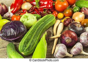 board., bois, légumes