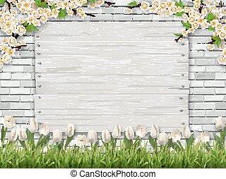 board brick grass tulip background