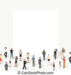 board., cielna, grupa, ludzie