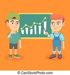 board., crianças, analisando, mapa, negócio