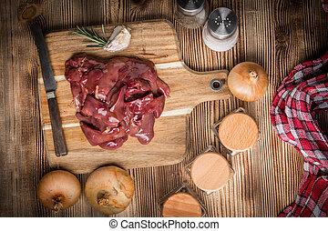 board., cru, galinha, corte, fígado