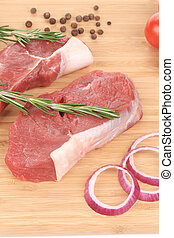board., crudo, taglio, bistecche