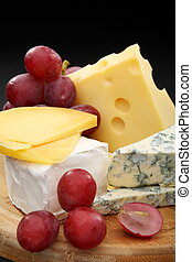 board., dřevěný, sýr, zrnko vína