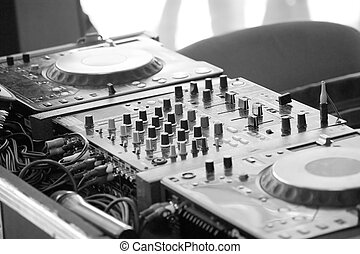 board disc jockey in monochrome tone