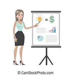 board., donna d'affari, grafico