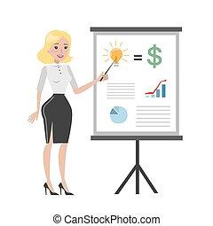 board., femme affaires, diagramme