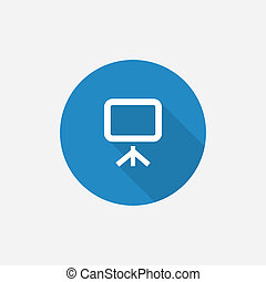 board Flat Blue Simple Icon with long shadow