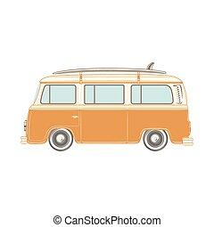 board., furgone campeggiatore, surf