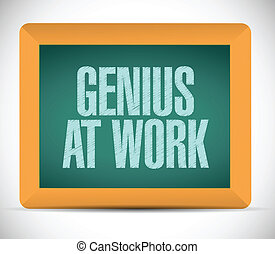 board., génie, message, travail, illustration