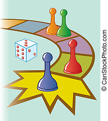 Board Game - An illustration of a board game with dice and ...