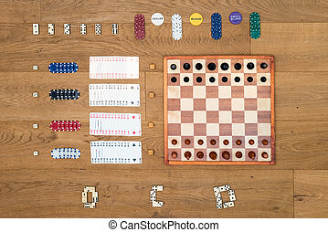 Board game and gambling background - Top view of Board game...