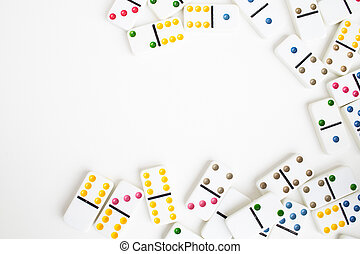 Board game dominoes, children's game, on a white background, isolate. Domino effect shot. business concept, strategy of success