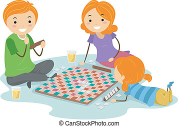Board Game - Illustration of a Family Playing a Board Game