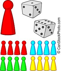 board game figures (pieces) with dices vector illustration