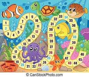 Board game image with underwater theme 1 - eps10 vector...