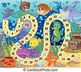 Board game image with underwater theme 2 - eps10 vector...