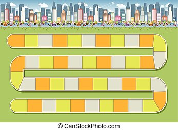 block path in the city - Board game with a block path in the...