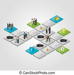 business people over path. - Board game with business people...