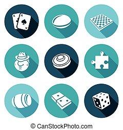 Board games Icons Set. Vector Illustration.