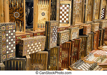 Impressive array of handmade board games in Turkish market