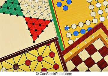 Various board games of ludo, halma, chess and fox and geese