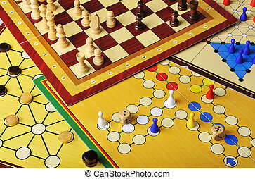 Board games - Various board games of ludo, halma, chess and ...