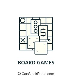 Board games vector line icon, linear concept, outline sign, symbol